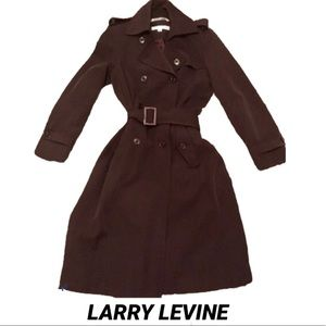 LARRY LEVINE Chocolate•Double•Breasted•Trench Coat